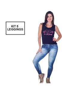 Kit 5 Calças Legging Fake Jeans